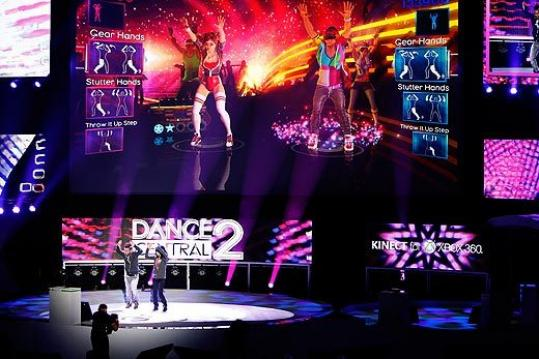 A Dance Central 2 demonstration at the Electronic Entertainment Expo yesterday.