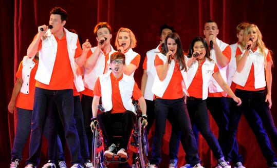 """The cast of """"Glee,'' shown during a concert last month, performed Tuesday night at TD Garden, instead of Monday night, due to a Bruins playoff game."""