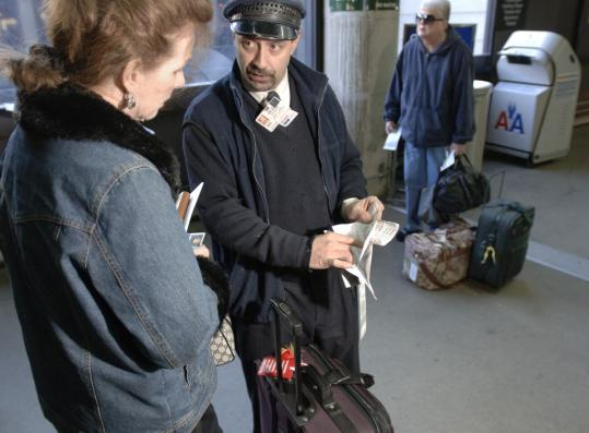 Don DiFiore helped Wendy Harte of Sandwich catch an American Airlines flight to Austin.