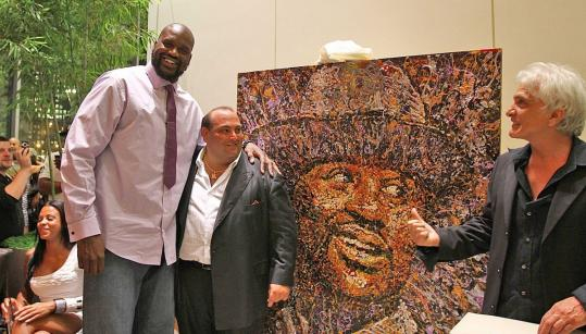 Shaquille O'Neal, restaurateur Nick Varano, and painter Giovanni DeCunto at Strega Waterfront.