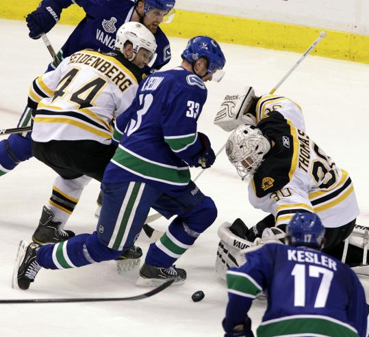 "Tim Thomas stopped 24 shots in Game 5, but the one that got away was said to be an ""easy save.''"