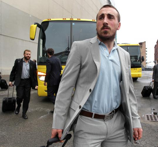 Brad Marchand's play has garnered a lot of attention, but yesterday the eye-catcher was the rookie's choice of travel garb.