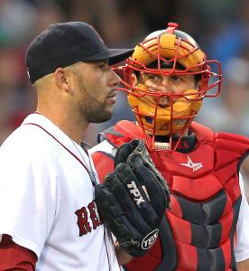 Whether pitching as a starter or in relief, Alfredo Aceves (with catcher Jason Varitek) has given the Red Sox a quality effort.