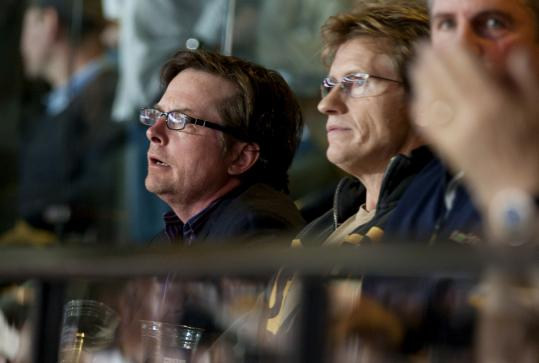 Actors Michael J. Fox and Denis Leary took in Game 6 of the Stanley Cup Final last night at TD Garden.