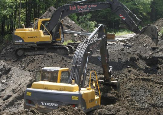 Excavators worked on Route 14 in East Montpelier, Vt., earlier this month after spring flooding caused an estimated $4.9 million worth of damage to public infrastructure in the state.