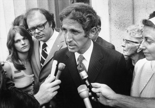 Pentagon Papers whistle-blower Daniel Ellsberg talked to reporters in Los Angeles during a recess in his 1972 trial.