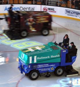 Between periods, each Zamboni puts 35 gallons of water on the Garden ice, which receives greater scrutiny in the Final.
