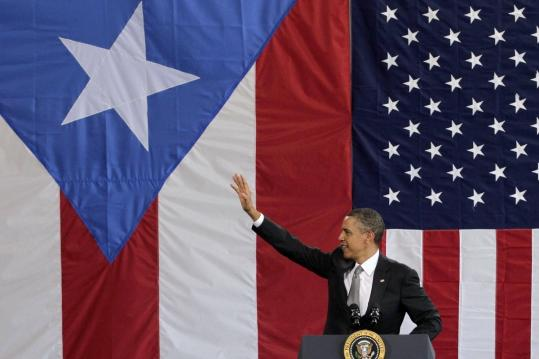 President Obama addressed a crowd in Puerto Rico yesterday, the first US president to visit the island since John F. Kennedy.