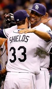 James Shields is congratulated by David Price after his shutout last night.