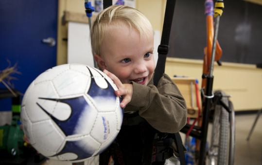 'It's really opened up his world, and allows him to be a 2-year-old boy,'' says Dianne Borton, Luke Seston's physical therapist, on the customized walker created by Concord Academy students for the toddler.