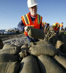 Drew Howell joined the sandbagging effort yesterday to keep the Missouri River out of Hamburg, Iowa.