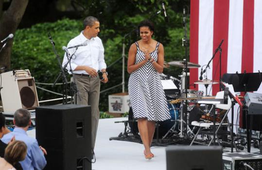 BACKYARD PARTY — President Obama and first lady Michelle Obama hosted the annual congressional picnic on the South Lawn of the White House yesterday.