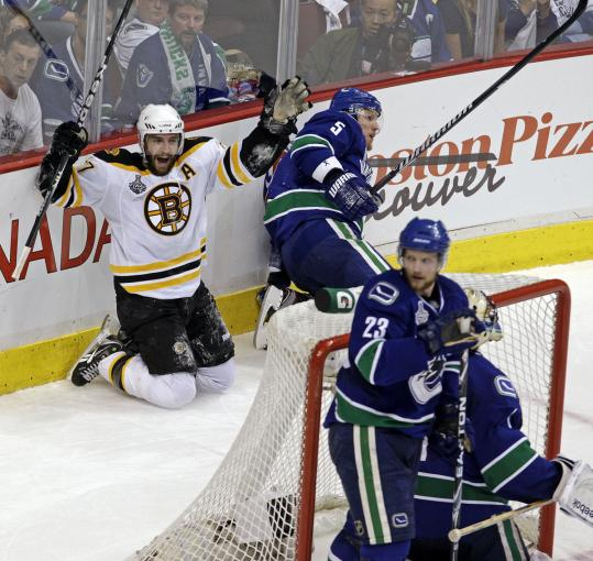 Patrice Bergeron brought the Canucks to their knees with a scrappy shorthanded goal in the second period that made it 3-0.