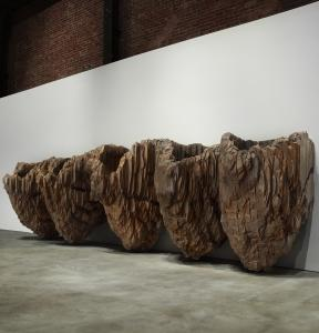 Ursula von Rydingsvard&#8217;s &#8220;Krasavica II&#8217;&#8217; (1999-2001), sculpted of cedar with graphite, at deCordova Sculpture Park and Museum.