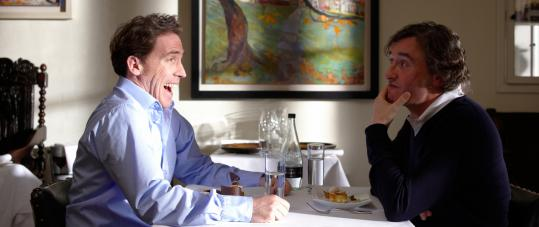 "Rob Brydon (left) and Steve Coogan share many impressions — and meals — in ""The Trip,'' a movie by Michael Winterbottom based on a British television series."