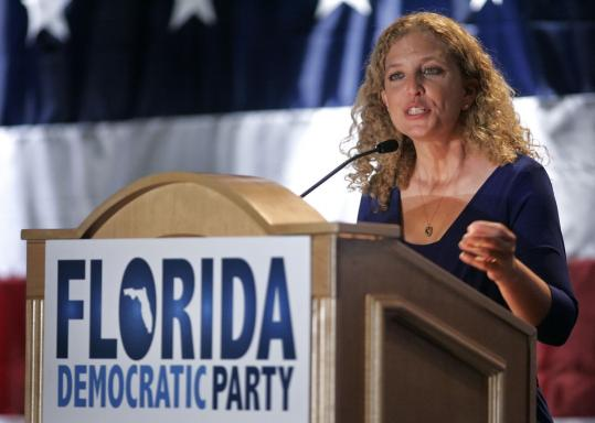 "Representative Debbie Wasserman Schultz, at a Florida fund-raiser on Saturday, took control of the Democratic National Committee in April. ""You want Debbie on your side,'' Obama has said."