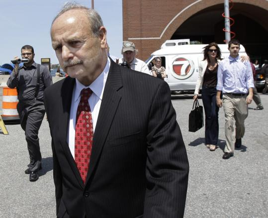 Former House speaker Salvatore F. DiMasi left court in Boston after his conviction Wednesday. Lawyers for DiMasi argue that he never agreed to support Cognos in exchange for money.