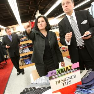 Chief executive Marcy Syms toured the first joint Filene's Basement-Syms store in Norwood last year.