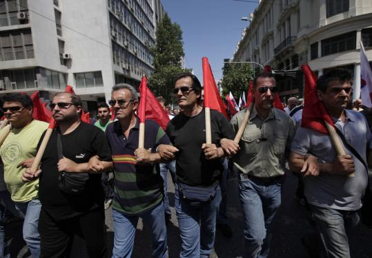 Communist Party-affiliated protesters marched in Athens yesterday. Greece has had near-daily protests.