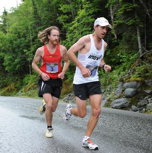 Rickey Gates (left) trails Tommy Manning at this stage of the Mount Washington Road Race but emerged as the winner. Manning finished second, 10 seconds behind.
