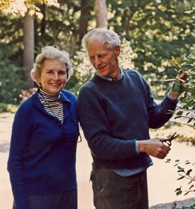 Catherine Hull with her husband, Harry, at their home, the Uplands, in Manchester-by-the-Sea.