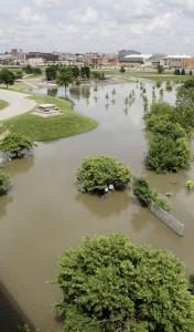 Part of Sioux City, Iowa, was flooded yesterday by the swollen Missouri River. Northern Missouri was also flooding due to a surge of water being released from dams upstream.