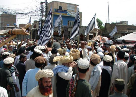 Pakistani tribesmen in Miran Shah in North Waziristan yesterday protested recent drone attacks in the region, which the US says is a sanctuary for the dangerous Haqqani network.