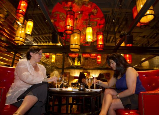 Christine Frieze and Manika Khanna dining at Red Lantern.