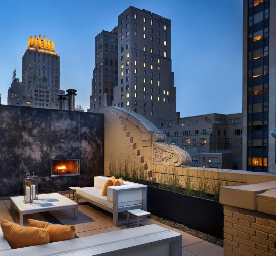 "A block from the park, AKA Central Park offers guests New York's first ""outdoor bedroom'' with a fireplace and a telescope."