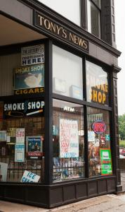 Tony's News, on Main Street in Worcester. The city is seeking to use the new federal Family Smoking Prevention and Tobacco Control Act to ban all visible cigarette advertising.