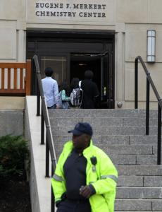 A chemical reaction that injured a Boston College student caused the evacuation of the Merkert Chemistry Center.