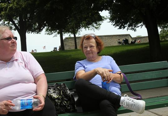 "Margie Heinonen (right) of Charlestown, relaxing with Pat Lehan at Castle Island yesterday afternoon, said: ""The only place he ever really mattered was right here in South Boston.''"