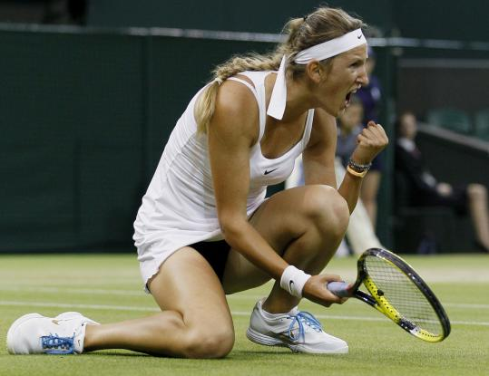 Victoria Azarenka vocalizes at Wimbledon earlier this week.