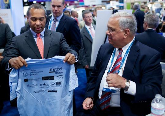 Governor Deval Patrick (left) and Mayor Thomas M. Menino attended the BIO conference in Washington to court biotechnology industry leaders.