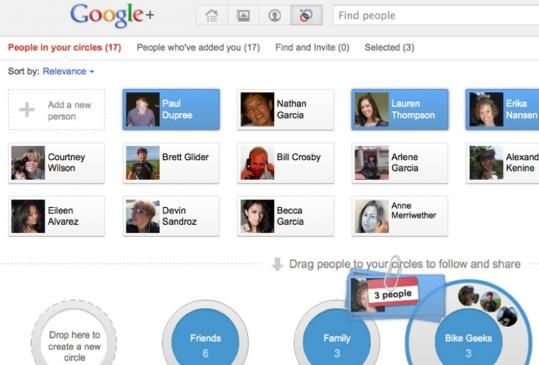 A screen shot of the Google+ social network. Google unveiled the service in a fresh attempt to compete with Facebook.