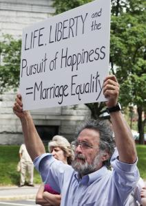 Demonstrators showed their support for same-sex marriage after a news conference yesterday in Lewiston, Maine, announcing the groundwork for another referendum on the issue.