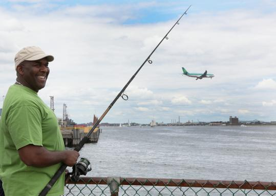 Ken Simpson, 49, of Mattapan, did not take up fishing until he moved to the United States from Jamaica.