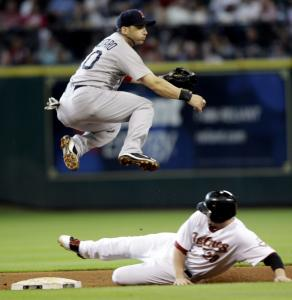 Shortstop Marco Scutaro took the high road to avoid the Astros' Chris Johnson and complete a fourth-inning double play, one of three by the Red Sox.