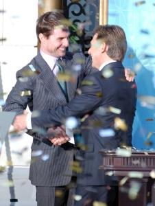 Tom Cruise (left) and David Miscavige at the opening of a Scientology church in Madrid in 2004. Cruise's association with the church over two decades has kept Scientology in the spotlight.