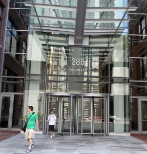 The entryway to the Atlantic Wharf office building at 280 Congress St.