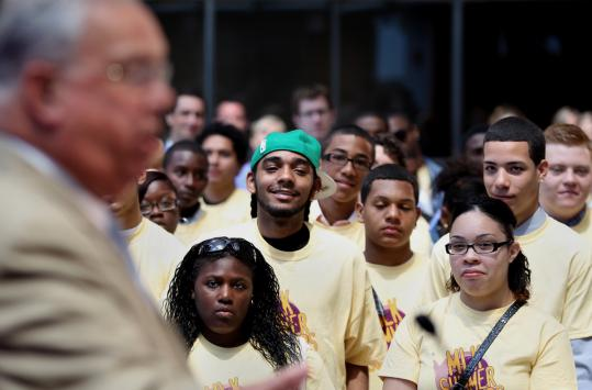 Members of the MLK Summer Scholars program listened to Mayor Thomas M. Menino yesterday. The summer jobs program is designed to give teens a safe, productive summer.