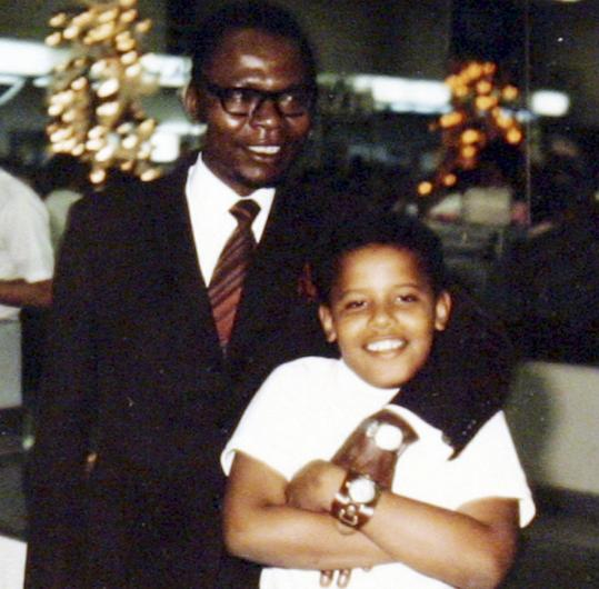 President Obama as a young boy, with his father, who left when his son was 2.