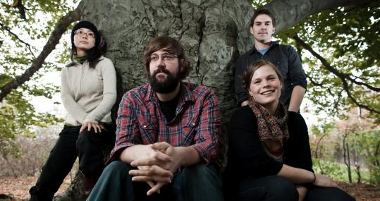The Grownup Noise is (from left) Aine Fujioka, Paul Hansen, Katie Franich, and Adam Sankowski.