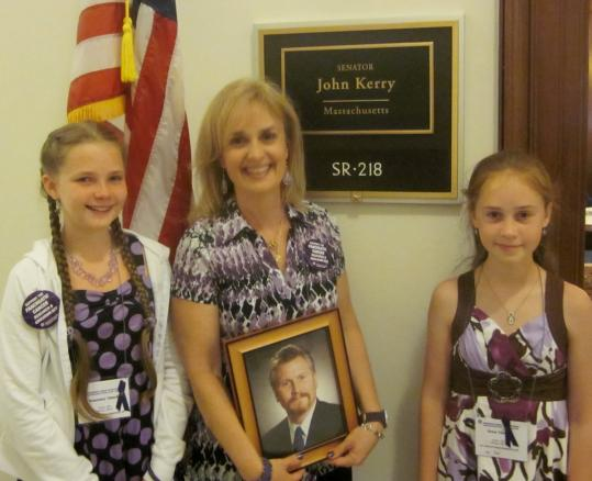 Rosemary (from left), Alison, and Grace Takacs attended the fifth annual Pancreatic Cancer Advocacy Day in Washington D.C. in memory of their father and husband, Jim Takacs.