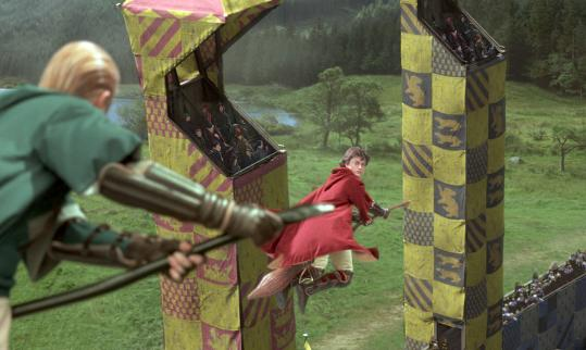 Quidditch, the game made popular by the Harry Potter books and films (top), has taken off at many high schools and colleges, including Wellesley College (above).