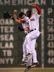 Jacoby Ellsbury (right) and Josh Reddick had plenty to celebrate - they combined for five hits in beating the Orioles.