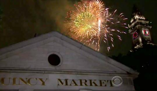 CBS added fireworks behind city landmarks for its broadcast.