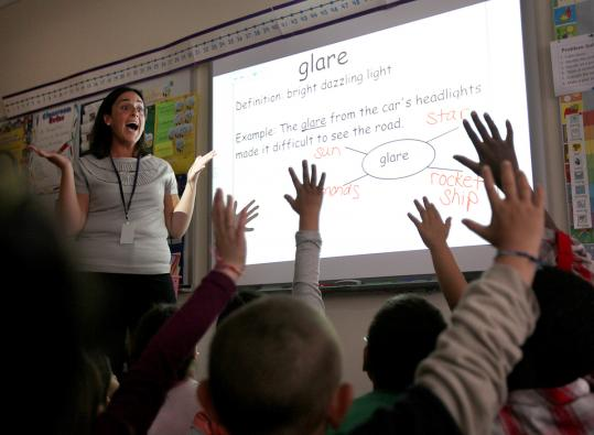 Alison Buonome worked with second-graders at the Paul Revere Elementary innovation school in Revere.