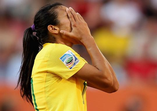 Five-time FIFA player of the year Marta scored twice for Brazil, but, like the rest of her teammates, left dejected.