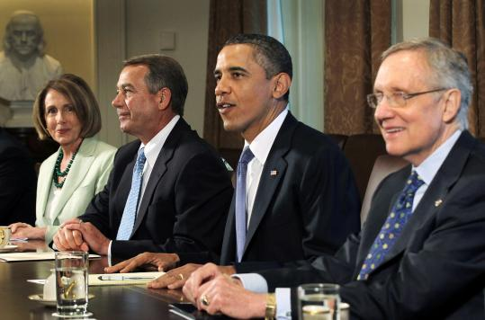 From left, Nancy Pelosi, House minority leader; House Speaker John Boehner; President Obama; and Harry Reid, Senate majority leader, met yesterday at the White House.